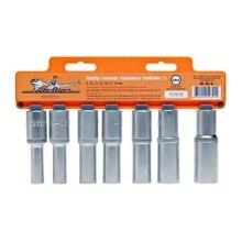 Набор головок торцевых KRAFT КТ 700816 (10 предметов, хром-ванадиевая сталь, трещоточный ключ, размеры посадки - 1/2