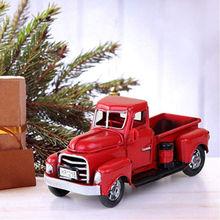 Baru Vintage Logam Merah Truk Paskah Ornamen Anak-anak Hadiah Terbaik Mainan Meja Dekorasi Pedesaan Natal Dekorasi untuk Rumah