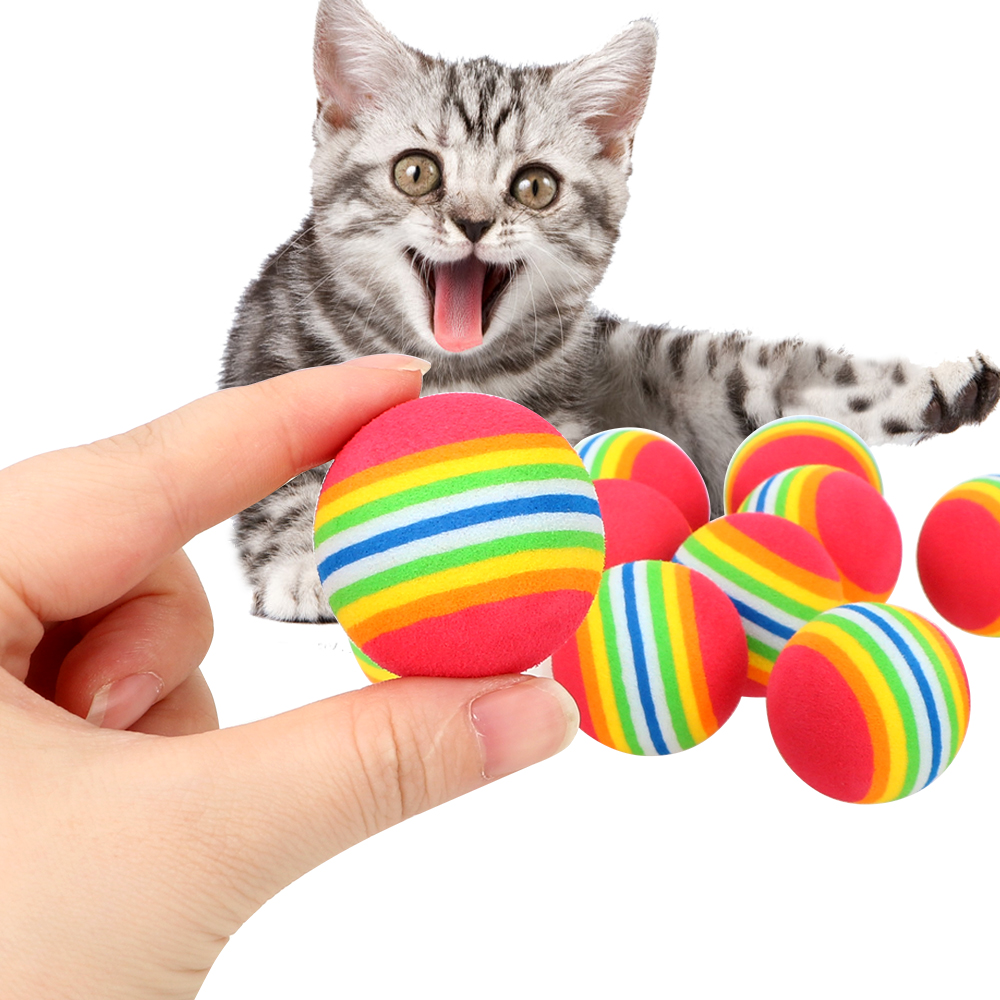 10Pcs Cat Football Cat Toys Colorful Balls Training Toys Interactive Rainbow Cat Toy Pet Products Training Pet Supplies