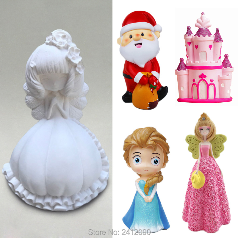 Angel silicone mold for plaster figurine crafts clay toys decorating tools gypsum model DIY Plaster dolls christmas mould figurine