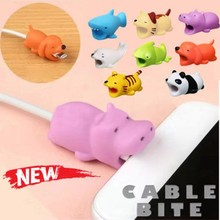 Cute Bite Cartoon Animal Pig Cable Protector for iphone 5 6 7 8 X XS Cord Protection Protective Cover USB Charging Winder