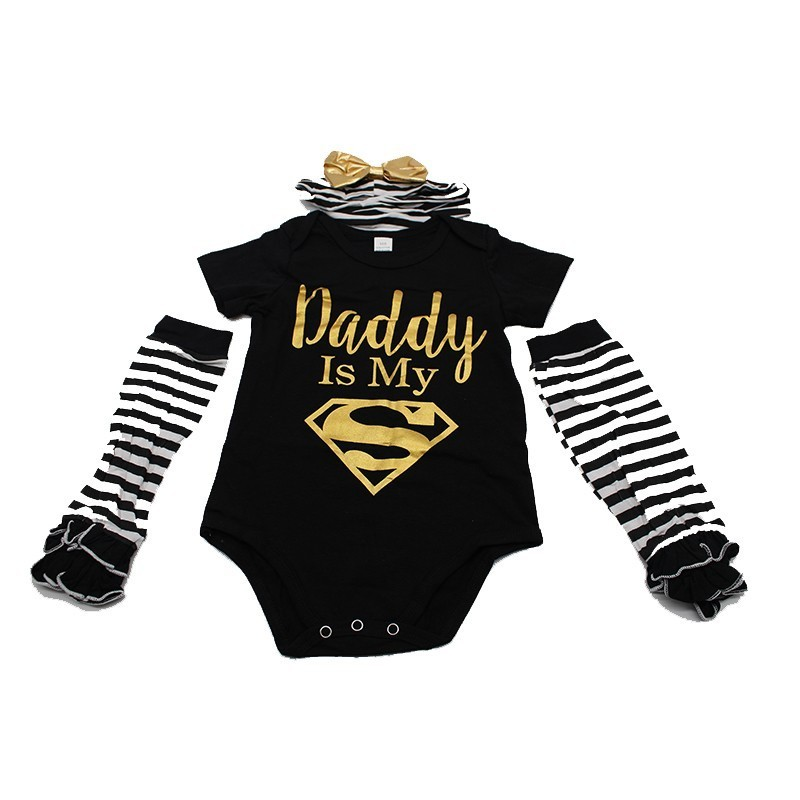 09b45136efac 2019 New pattern 3PCS Outfit Dad is My Superman Newborn Baby Girls Clothes  Short Sleeve + Striped Legging Warmer pant +Headwear -in Clothing Sets from  ...