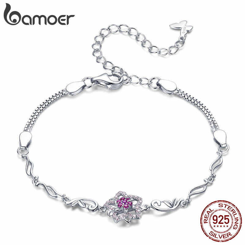 BAMOER Authentic 925 Sterling Silver Blooming Peach Love Flower Lobster Bracelets for Women Sterling Silver Jewelry Gift BSB005