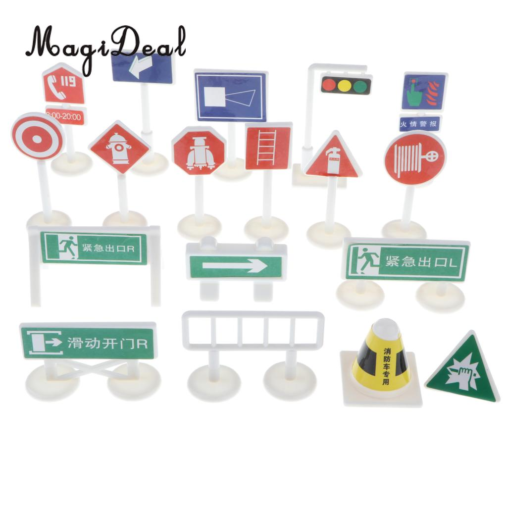 18 Pieces Fire Safety Road Signs Playset - Traffic Signs Figure Model For Children Pretend Play Game Car Vehicle Toy Demand Exceeding Supply