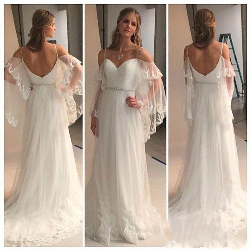 713b571d4d5 Detail Feedback Questions about Simple Style White Beach Wedding Dresses  2018 Cheap A Line Tulle Long Garden Spring Summer Lace Appliques Backless  Bridal ...