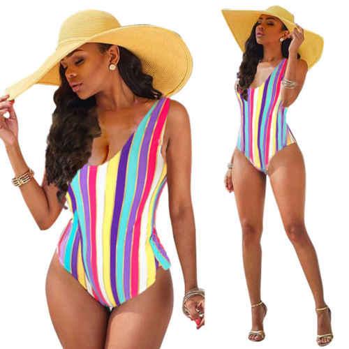 2019 النساء قوس قزح مخطط ضمادة ادفع الهاتفي الألوان ثوب سباحة مثير ملابس السباحة بحر الاستحمام