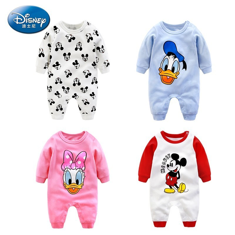 Disney Baby Girl Boy Cartoon Onesies Spring Autumn Clothes Newborn 100% Cotton Clothes Pullover Romper For 0-12 Months