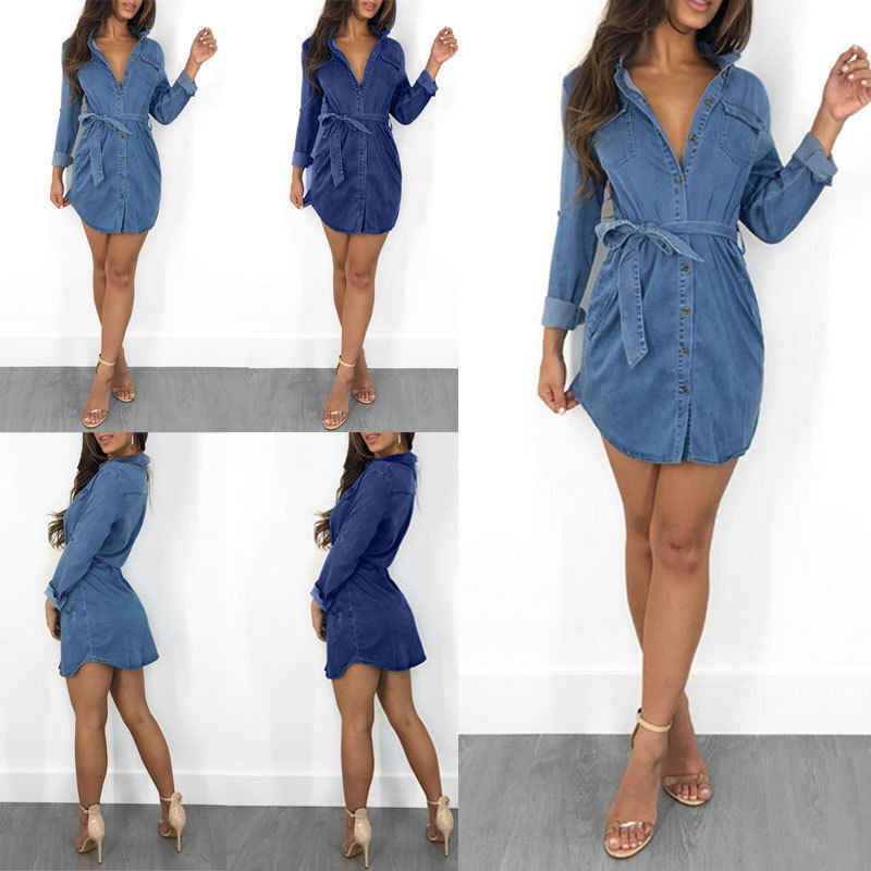 9318adde83 Fashion Brand New Women s Long Sleeve Button Up Pocket Denim Mini With Belt Shirt  Dresses Solid