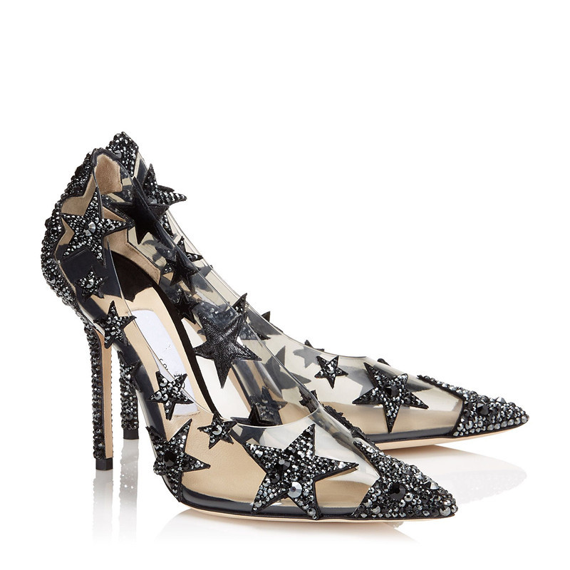 Stylet Chaussures As Parti Mariage Motif Femme Piste Femmes Pour Pvc Transparent Glitter Dame Étoiles Bling Cristal Pic Pompes De wTpPxqY6