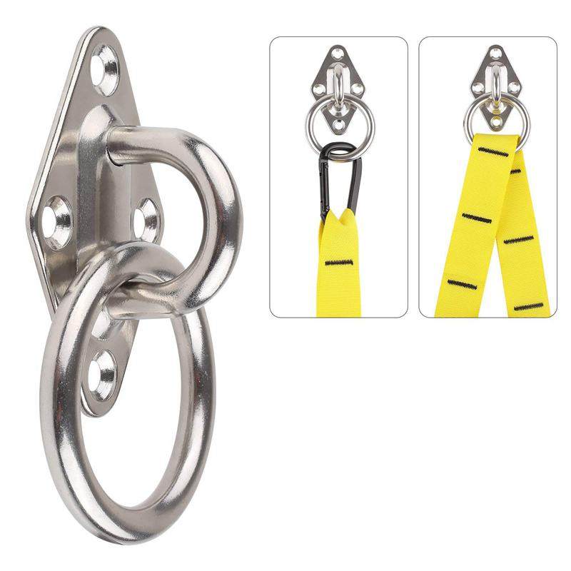 80Mmx50Mm Mounting Hook For Wall Or Ceiling With Round Ring Stainless Steel - Bracket / Attachment For Sling Trainer, Hammock,