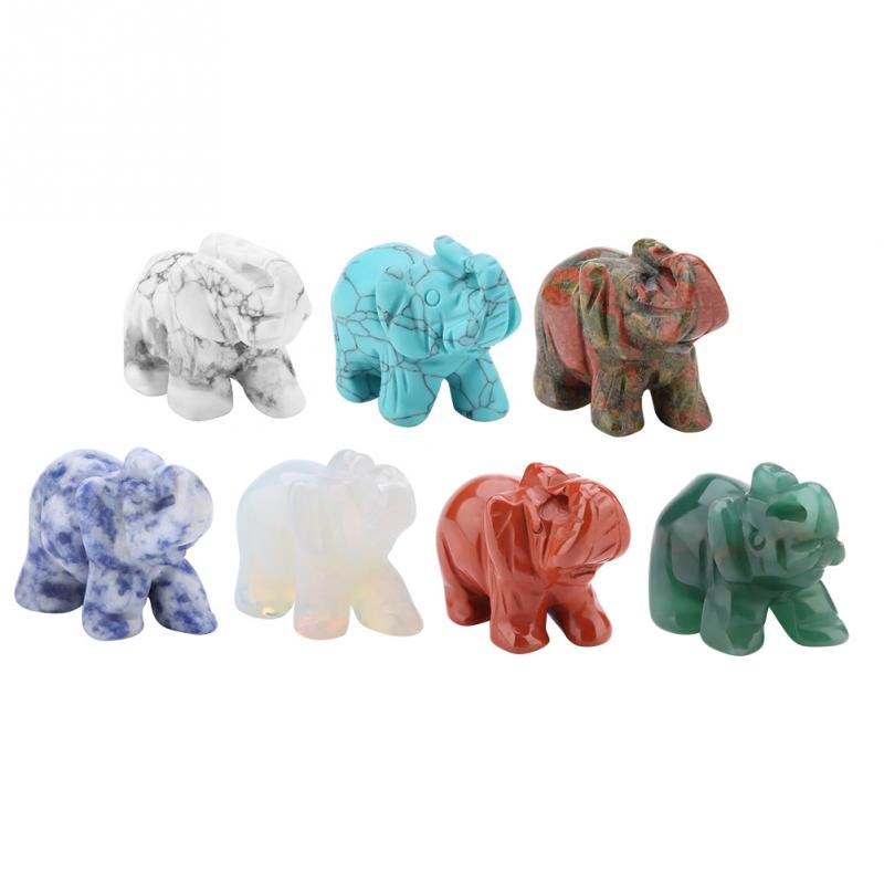Tiger eye Elephant Natural stone carved Figurine Chakra Bead Healing Crystal Reiki Feng Shui figurine