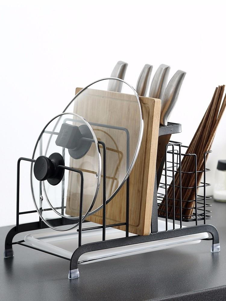 Accessoires de cuisine outil en acier inoxydable Multi Pot couvre support de rangement couteaux et planche à découper support de rangement debout