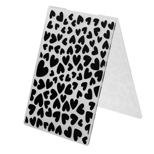 Plastic Embossing Folder for Scrapbook Two Hearts Leaves Stars Pattern DIY Album Plastic Template Stamp Paper Card Craft Making