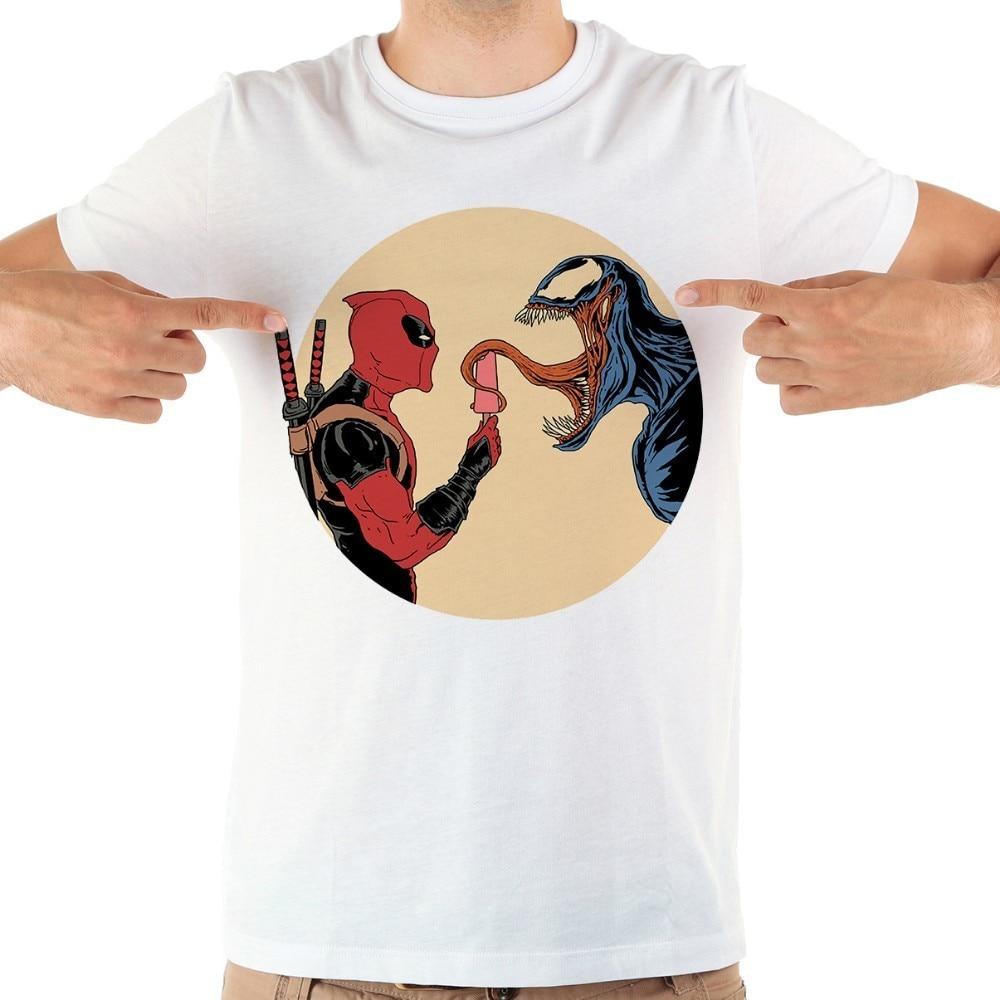 deadpool venom Symbiote cool   t     shirt   men jollypeach brand summer new white short sleeve casual homme anime tshirt