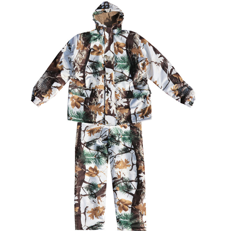 Winter Outdoor Hiking Camp Fishing Riding Climbing Windproof Snow Bionic Camouflage Suits Hunting Waterproof Warm Jacket + Pants