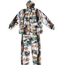 Зимние уличные Пеший туризм для походов и рыбалки для верховой езды ветрозащитные для восхождения снег бионический камуфляж костюмы Охота Водонепроницаемый теплая куртка + брюки