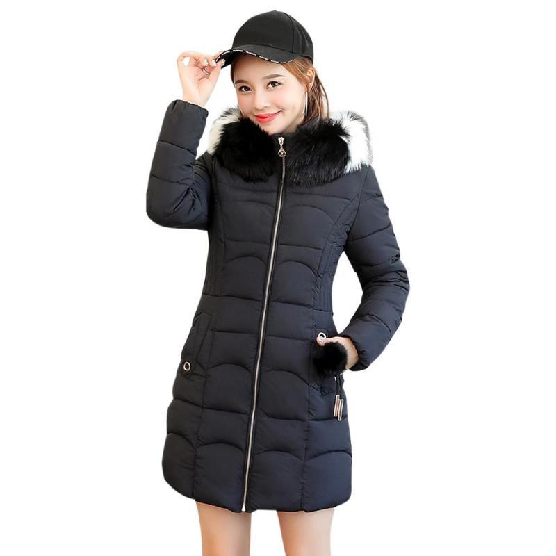 2018 Winter Frau Pelz Kragen Unten Jacke Weibliche Jacke Frauen Mantel Gepolsterte Lange Parka Outwear Mode Mantel Plus Größe Schwarz Durchblutung Aktivieren Und Sehnen Und Knochen StäRken