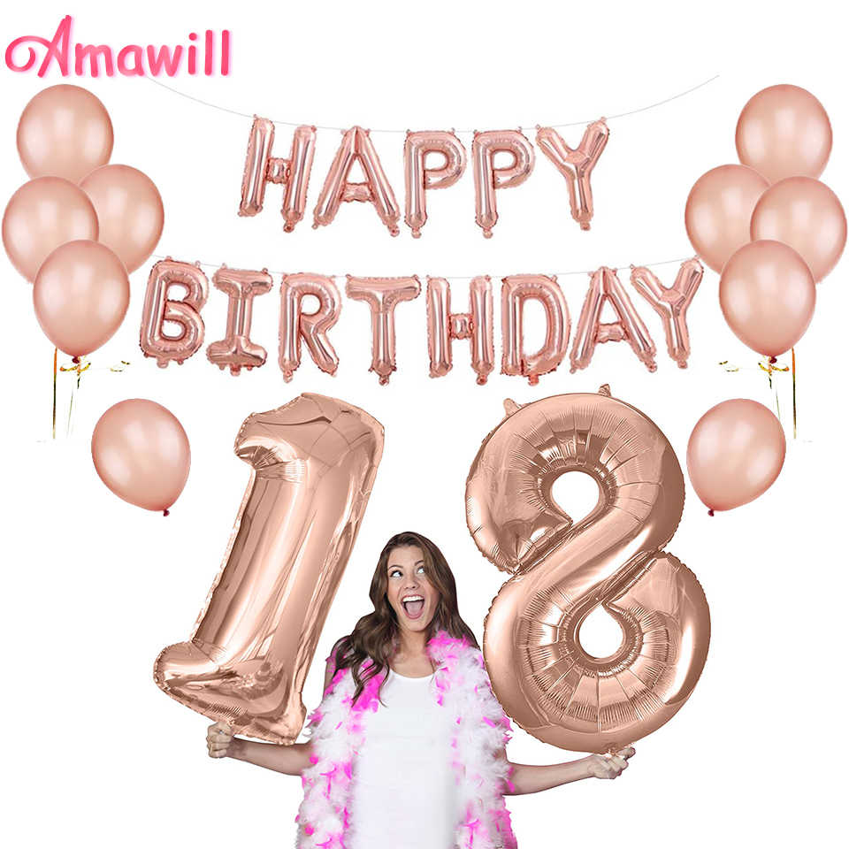 Magnificent Amawill 32Inch Rose Gold 18Th Happy Birthday Foil Balloons 12 Funny Birthday Cards Online Fluifree Goldxyz