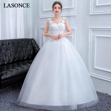 LASONCE Crystal V Neck Lace Flowers Appliques Ball Gown Wedding Dresses Sequined Illusion Backless Bridal Dress