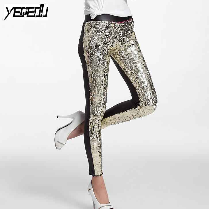 #0503 Spring Summer 2019 Punk PU Sequins Leggings Sequin Pants Elastic High Waist Sexy Club Faux Leather Shiny Silver/Gold/Red