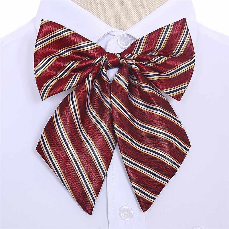 Vente femmes cravate hôtesse noeud papillon Vintage soie rayé noeud papillon 2019 nouveau cou porter accessoires