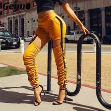 Genuo Drawstring Buckle Pencil Pant Women Patchwrok Zipper High Waist Harem Cargo Streetwear Casual Hip Hop Trouser Overall