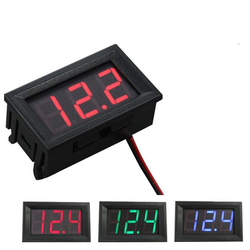1pcs Digital Display Voltage DC 4.5V To 30V Red /green /blue Panel Meter For 6V 12V Electromobile Motorcycle Car
