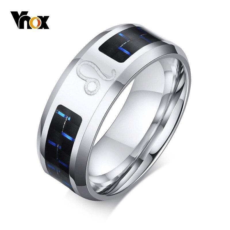 8588e81f9b94 Anillos Leo grabados Vnox para hombres 8mm Acero inoxidable 12  Constelaciones Anel masculino clásico anillo de fibra de carbono