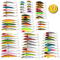 Pack of 71pcs Mixed Ice Fishing Lure Set Kit Minnow Lures Crankbaits Artificial Rock Hard Lure Bait Bass Carp Fishing Tackle
