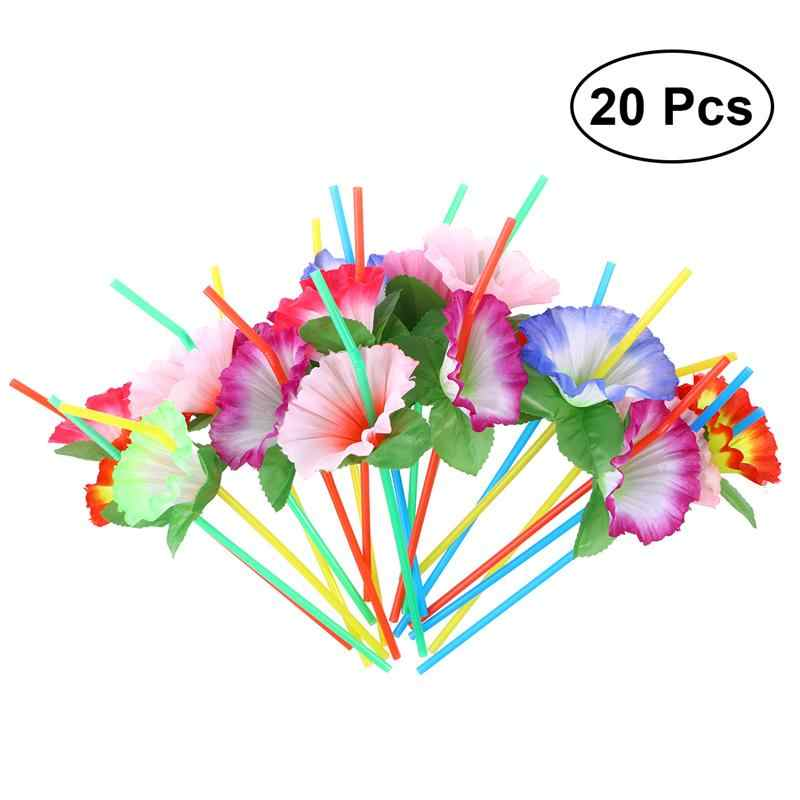 20Pcs Flower Bendable Drinking Straws Decorative Disposable Straws Party Table Decor for Wedding Birthday Party Supplies