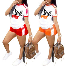 Two Piece Set Sport Women Pink Letter Print T-And Shorts 2019 Summer 2 Pieces Sets Ladies Fashion Stripe Tracksuit Outfit все цены