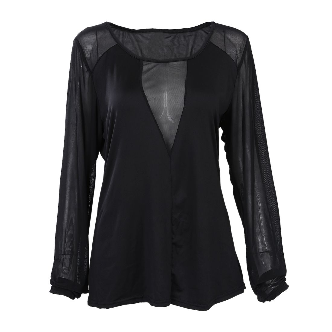 Women Autumn Sexy Mesh Splice Tops O-Neck Long Sleeve Casual Solid Slim See Through Shirts S-5XL(BLACK)