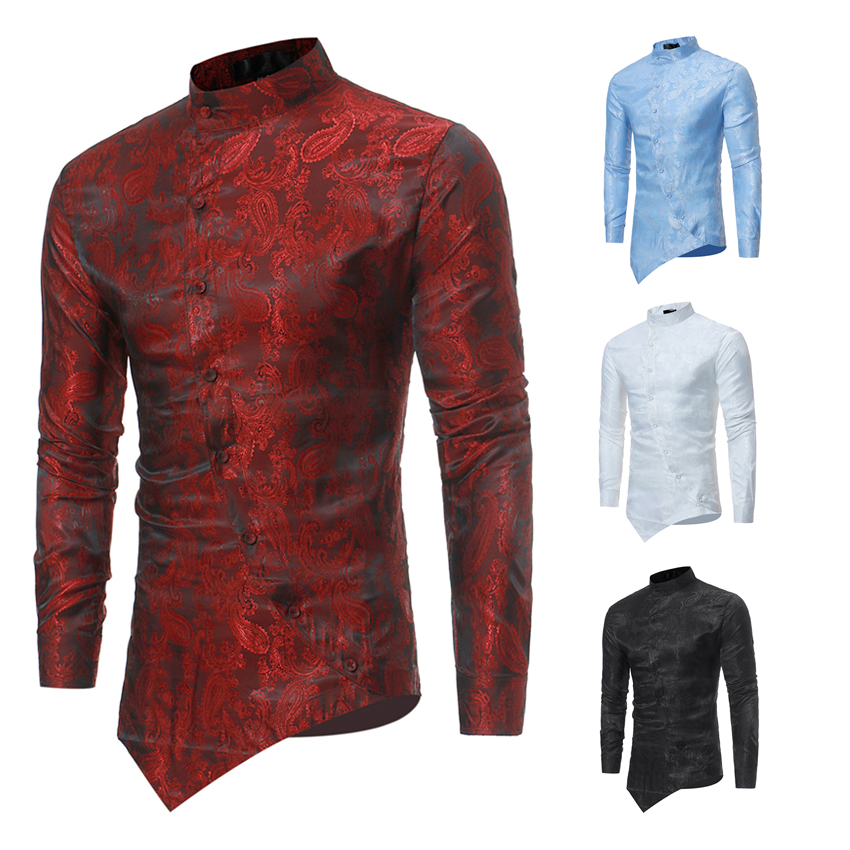 2019 Men Africa Riche Bazin Shirts African Style Fashion Oblique Button Dashiki Long Sleeve Irregular Fit T-shirts for Man