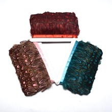 Wholesale 10yard/lot of natural cock feather belt trim 5-6CM pheasant feather crafts wedding decoration DIY clothing accessories недорого