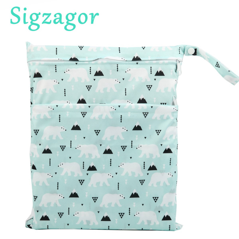 [Sigzagor]Wet Dry Bag, With Two Zippered Baby Diaper Bag, Nappy  Bag, Waterproof, Reusable,Washable Grey Gray Chevron Zigzag(China)