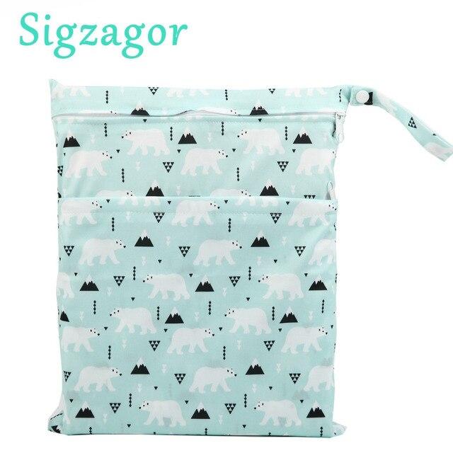 [Sigzagor] Wet Dry Bag, Com Dois Zíper Do Tecido Do Bebê, Saco de Fraldas, À Prova D' Água, reutilizável, Lavável Cinza Cinza Chevron Ziguezague