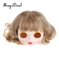 Make up White Faceplate Backplate Body Parts with Golden Short Hair Wig For Blythe Doll RBL Blythe