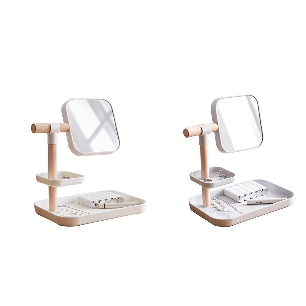 Rangement en bois d'organisateurs de maquillage en plastique de bureau avec le stockage cosmétique de miroir tournant de 360 degrés livraison rapide