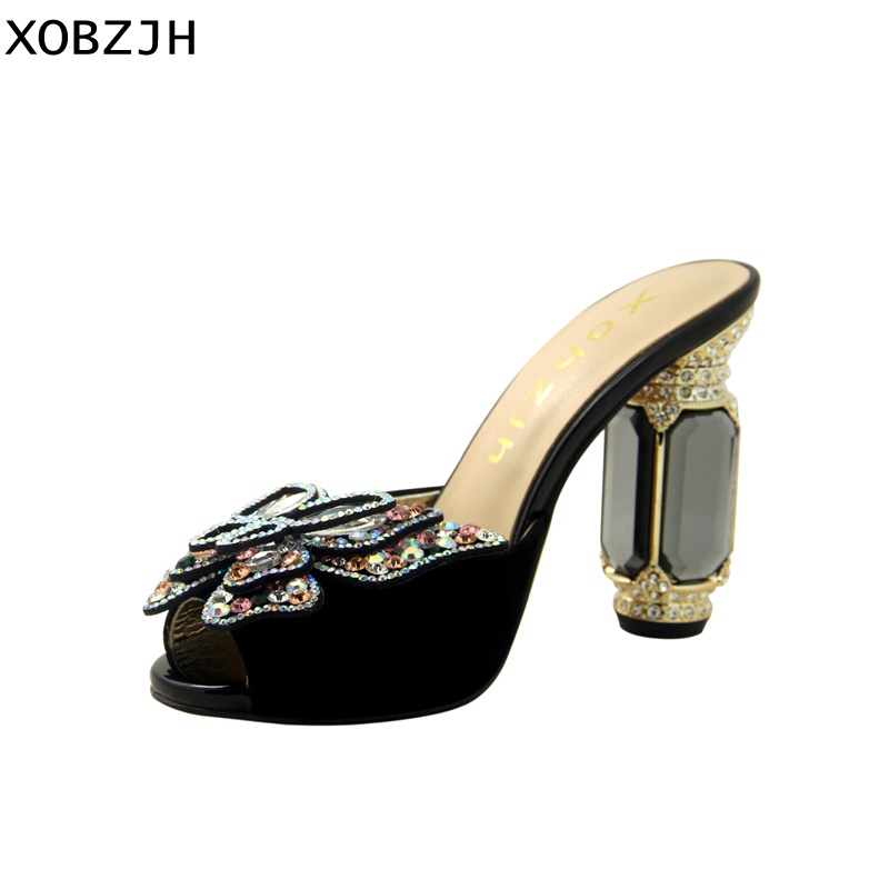 f6b165ed1a XOBZJH Summer Women Yellow Sandal Shoes 2019 Genuine Leather Floral ...