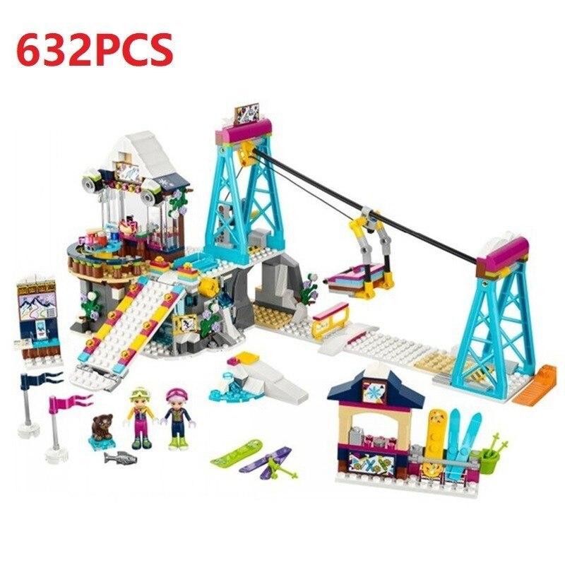 632PCS Friends Compatible Legoing Friends Winter Sports Snow Resort Ski Lift For Girl Club Set Building Blocks Toys WJ045