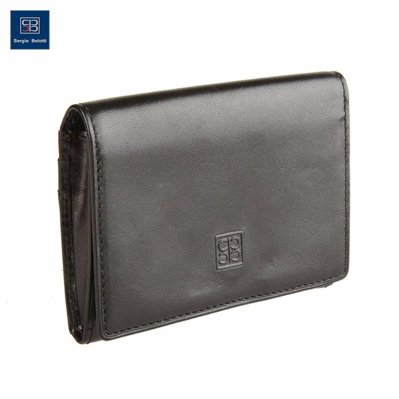 Business Card Holder Sergio Belotti 1295 Milano black short genuine leather cowhide men wallet business card coin money male purse card holder