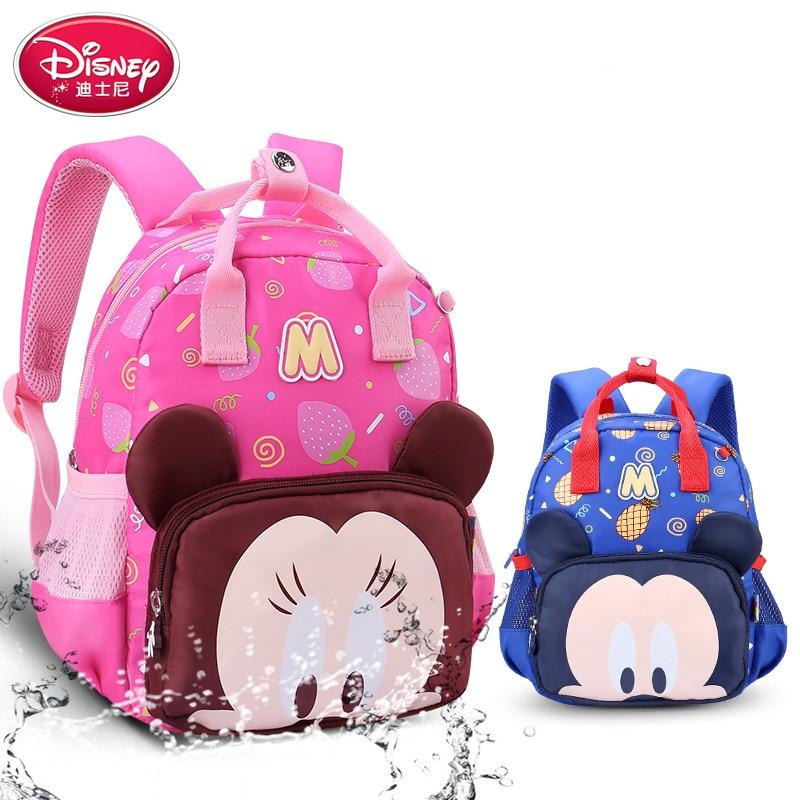 Disney Waterproof Cartoon Mickey Backpacks Baby Child Mini Bag Minnie Kindergarten Plush Schoolbag Children's Backpacks