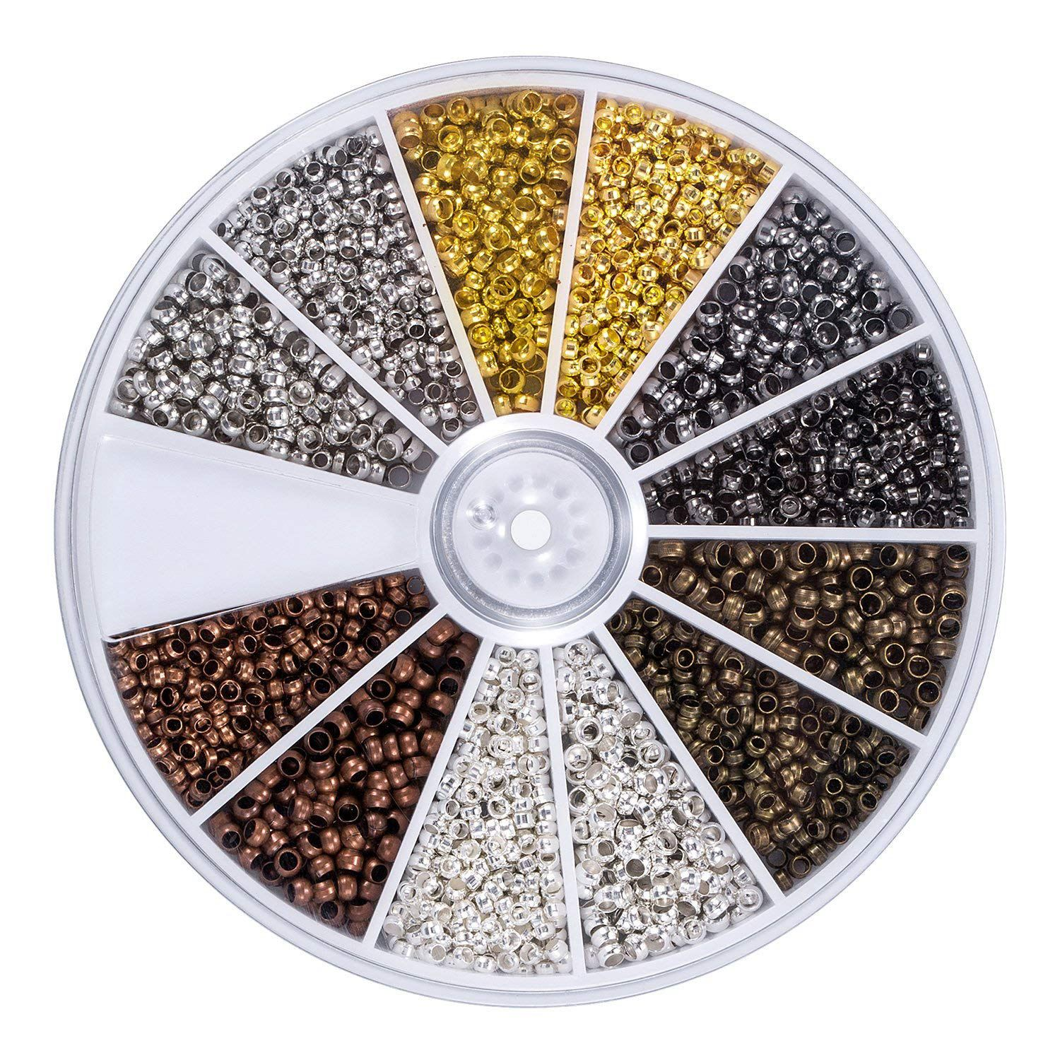 2250 Pieces Tube Crimp Beads 2 Mm 2.5 Mm Mixed Bracelet Loose Beads Spacer Jewelry Making Ends Caps, 6 Colors Online Shop