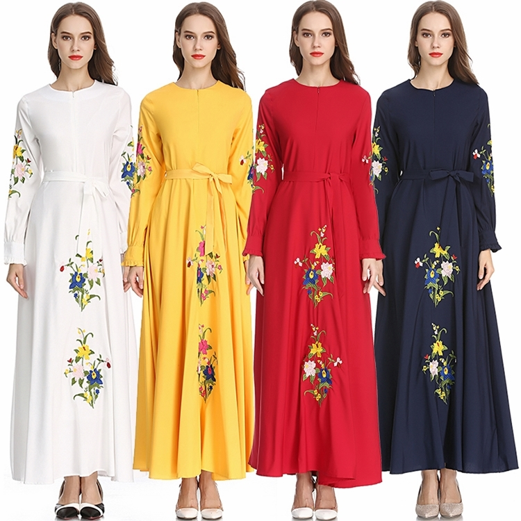 Embroidered Temperament Dress Abaya Women Muslim Sashes Dubai Ramadan Long Sleeve Caftan Marocain Islamic Clothing Long Robes-in Islamic Clothing from Novelty & Special Use on Aliexpress.com | Alibaba Group