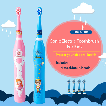 Electric Toothbrush For Kids Rechargable Toothbrush Sonic USB Portable Charger Charging 4 Heads Tooth Brush Electric couple toothbrush usb sonic electric toothbrush ultra sonic toothbrush rechargeable charging with 4 heads pink blue black color