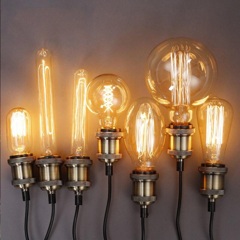 Edison Bulb Luminaria ST64 Retro Lamp Bombilla Vintage Lampada G125 G80 220V 40W E27 Antique Decor Bulbs Carbon Filament Bulbs