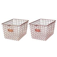 Nordic Style Rose Gold Metal Wire Storage Basket Cosmetic Organizer Holder for Home Office Toiletry Collection Bathroom Shelf
