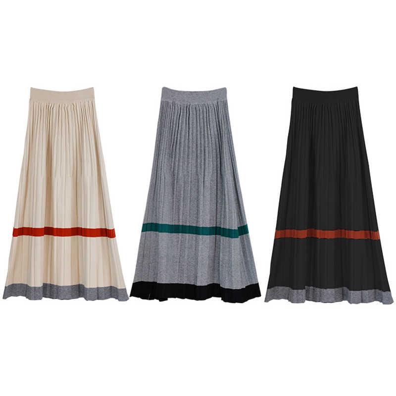 8e6fe5b7e2 ... Korean Horizontal Stripe Knitted Midi Skirt Women Casual Pleated Skirts  Autumn Elastic High Waist Soft Knitwear