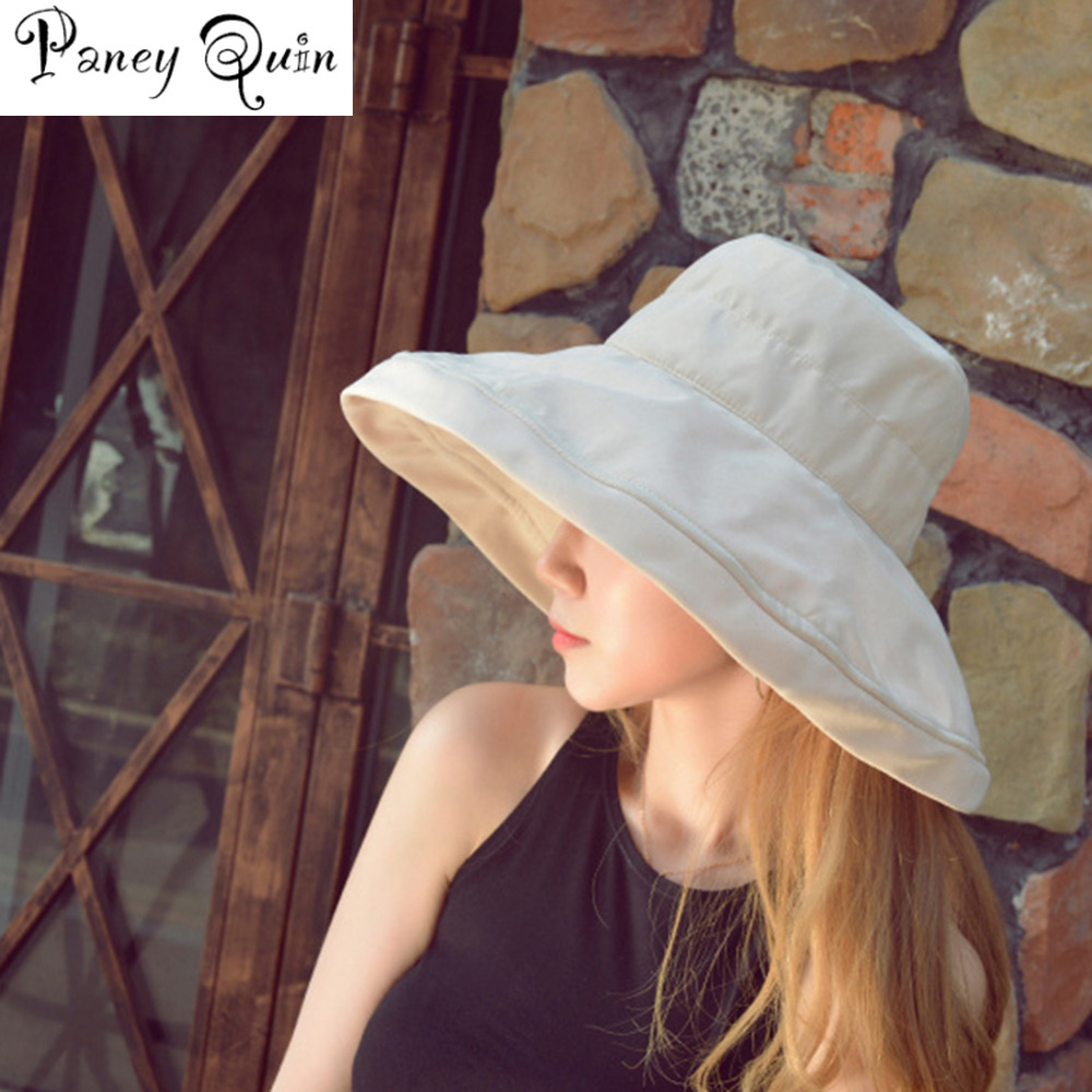 Summer Fashion Women Girl Sun Hat CAPS Foldable Cotton Ladies Wide STRAW Hats Outdoor Leisure Beach Hats Sun Protection