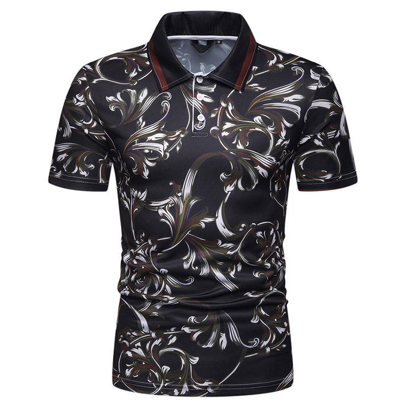 2019 New Men's   Polo   Shirt High Quality Men Flower Printed Short Sleeve   polo   homme Summer Mens   polo   Shirts